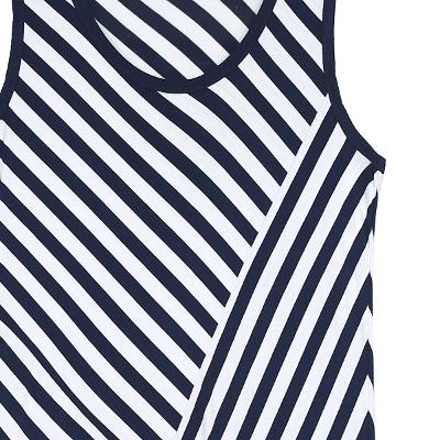 stripe pattern sleeveless flare dress